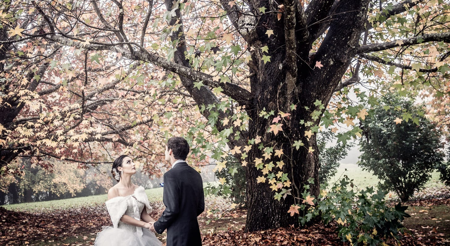 bride and groom in Autumn